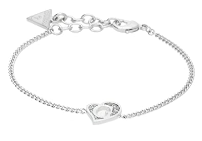 Guess Damen-Kette mit Anhänger G Hearts Halskette Edelstahl Kristall weiß  19.5 cm-UBB71527 de449725ad
