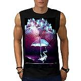 Frog Rain Umbrella Storm Night Men NEW Black S-2XL Sleeveless T-shirt   Wellcoda