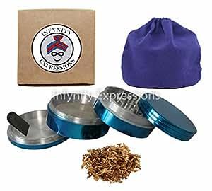 42mm/ 1.65in 4pc CNC Aluminium Herb Tobacco Spice Grinder - Blue Colour W CARRY POUCH & SCRAPER
