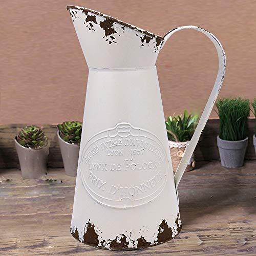 YHOMBES Shabby Chic Large Metal Jug Flower Pitcher Vase Primitive Jug Vase for Home Decoration (Jugs Flowers For Metal)