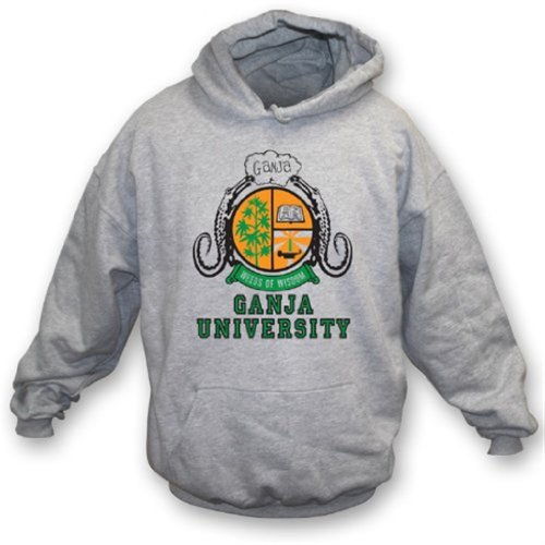 Ganja University (As worn by Bob Marley) Hooded Sweatshirt Large Grey