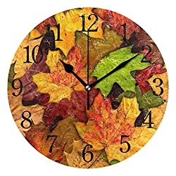 TFONE Autumn Fall Maple Leaf Wall Clock Round Silent Non Ticking Battery Operated Clock for Home Kitchen Bedroom Bathroom Living Room Office Decorative