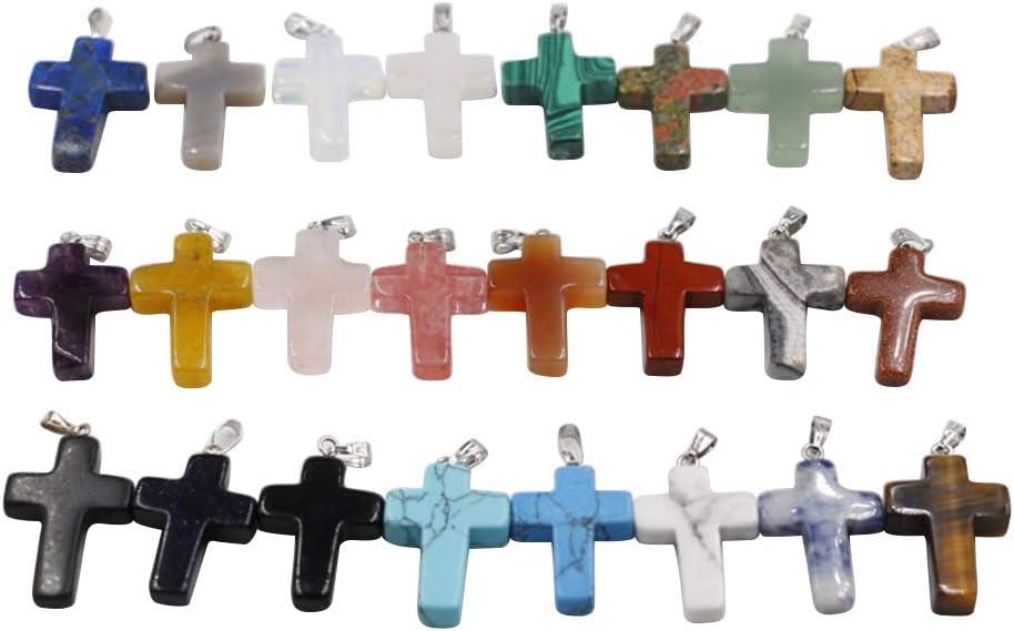SUPVOX 30PCS Colgante de cruz de piedra natural Encanto de cruz Collar colgante de bricolaje Accesorios (color mixto, cadena no incluida)