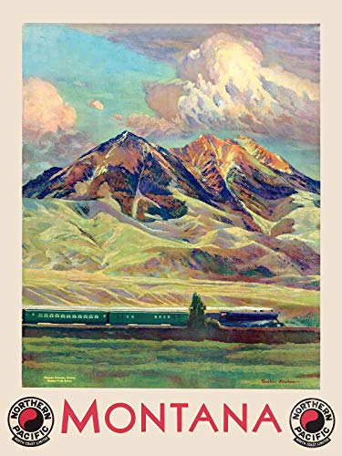 Magnet 1920s Visit Montana Northern Pacific Railroad Vintage Style Travel PosteMagnet Vinyl Magnetic Sheet for Lockers, Cars, Signs, Refrigerator 5