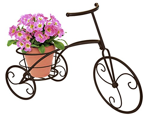 Sorbus Tricycle Plant Stand - Flower Pot Cart Holder - Ideal for Home, Garden, Patio - Great Gift for Plant Lovers, Housewarming, Mother's Day - Parisian Style (Single Pot, Bronze) (Furniture Porch Patio Ideas)
