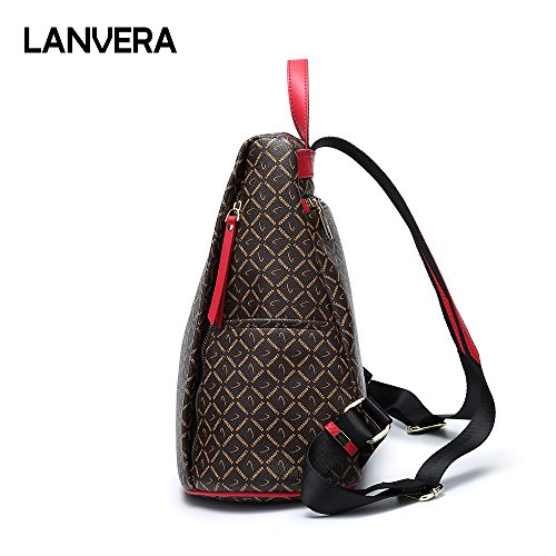 Women Coffee Laptop School Bag Lanvera Shoulder Leather Fashion Backpack Bag UnYFHq