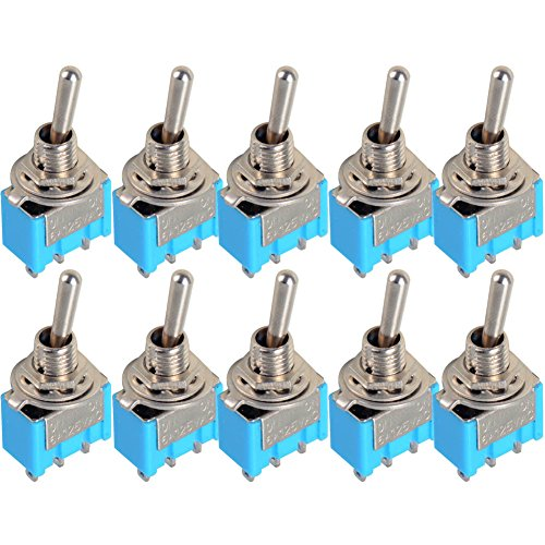 (ADSRO 10pc Blue Mini MTS-102 3-Pin SPDT ON-ON 6A 125VAC Miniature Toggle Switches)