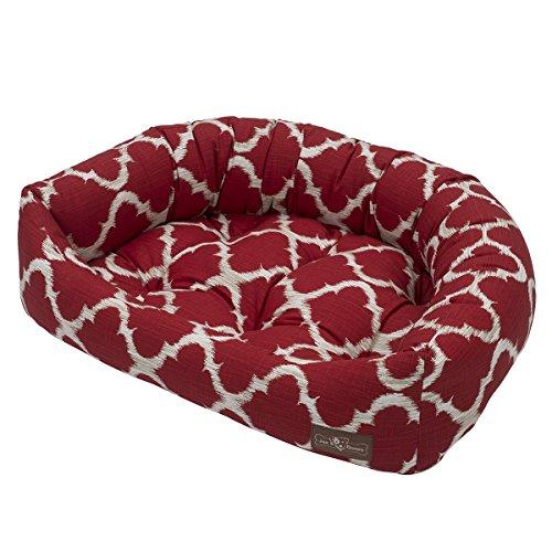 Jax and Bones Monaco Everyday Cotton Napper Dog Bed, Small, - Scarlet Mon