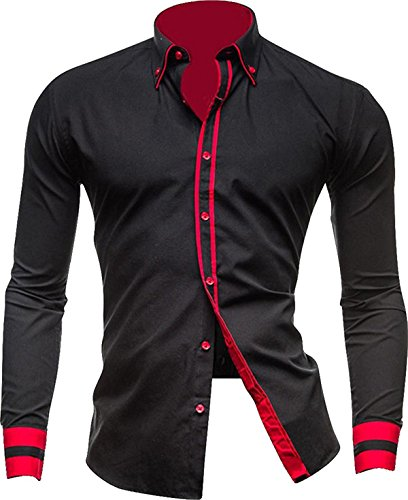 DreamAndReality-Mens-Slim-Fit-Long-Sleeves-Casual-Dress-Shirts-Tops-8697