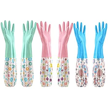 Cindy&Will 3Pairs Reusable Waterproof Long Sleeves Antibacterial Non-skip Dishes/Laundry/Kitchen/Car Washing Cleaning Latex Gloves