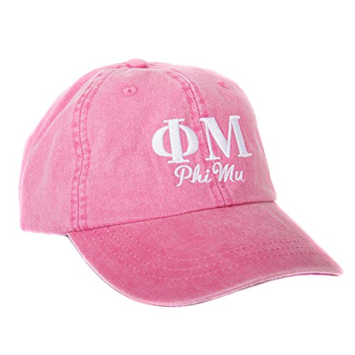 Phi Mu (S) Sorority Embroidered Baseball Hat Cap Cursive Name Font (Hot Pink - -