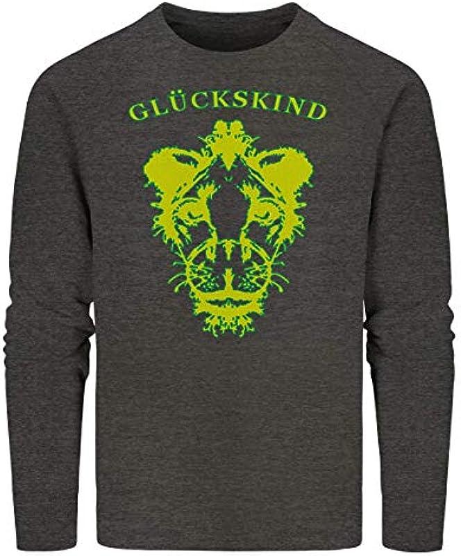 Quermalerei Męskie Pullover Sweatshirt Sweater Baumwolle Organic Glückskind Löwe Dark Heather Grey L: Odzież