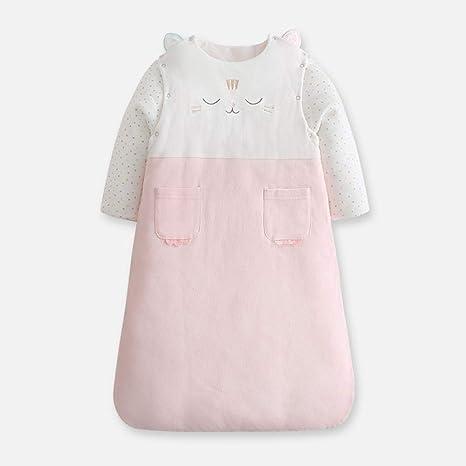 Bebé recién nacido engrosamiento anti-patada es anti-repentino algodón cálido saco de dormir de manga larga-Pink_90cm saco de dormir para bebé invierno dormir sacos de dormir para niños: Amazon.es: Bebé