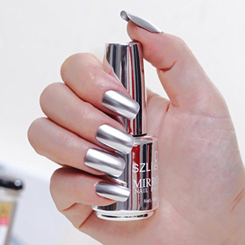 Hot Sale! Hongxin18ml Mirror Nail Polish Metallic Lacquer Silver Nail Mirror Effect Metal Gold Nail Gel Polish Base Top Coat Nails Art Manicure Creative Gift for Her Clearance Christmas Gift (L)