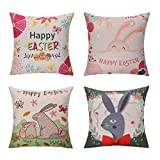 Chogori Easter Decorative Throw Pillow Covers - Set of 4, 18 x 18 inch - Cute Easter Bunny & Eggs Pillowcase Holiday Home Decoration