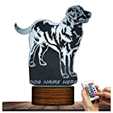 Novelty Lamp, Night Light 15 Kinds of Discoloration 3D LED Lamp Optical Illusion Puppy, USB Powered Remote Control Changes the Color of the Light, an Ideal Gift for Children's Friends and Family ,Ambi