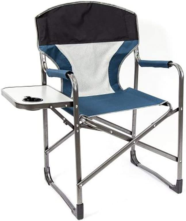 Mac Sports Folding Directors Chair with Side Table and Cup Holder, Blue