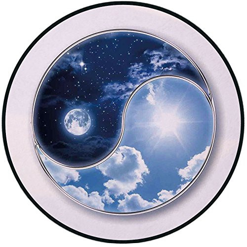 Printing Round Rug,Apartment Decor,Yin Yang World with Moon and Sun Harmony of The Universe Art Mat Non-Slip Soft Entrance Mat Door Floor Rug Area Rug for Chair Living Room,Navy Blue Sky Blue White ()