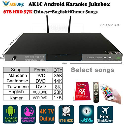 6TB HDD 97K Chinese DVD,+English DVD+ Khmer/Cambodian VCD DVD Songs Android  ECHO Karaoke Player, Cloud Download, Mobile Device select