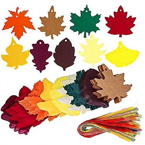 - 180 Pcs 9 Colors Maple Leaves Gift Tags Sign Kraft Paper for Wedding Party Favors Tag Escort Cards Cards Hanging Sign Tags Leaves Paper Cutouts