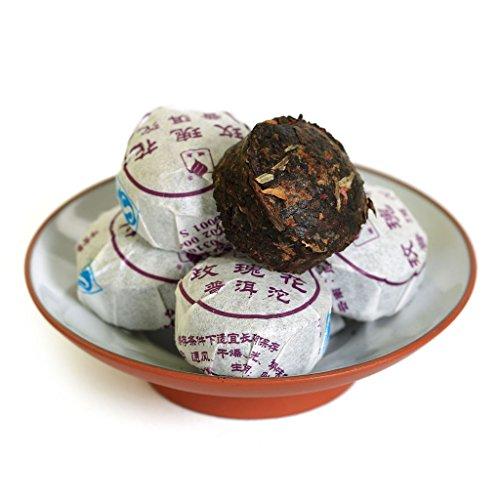 Mini Tea Rose (20Pcs (4.58 Oz) 2015 Year Yunnan Red Rose Flower Flavored puer Pu'er Puerh Tea Mini Ripe Tuo Cake)