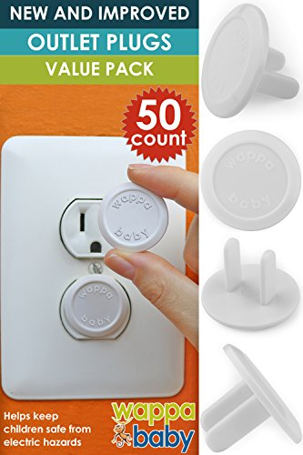 50 Count Premium Quality Childproof Outlet Covers – VALUE PACK – New & Improved Baby Safety Plug Covers – Durable & Steady – Pack Of 50 Plugs