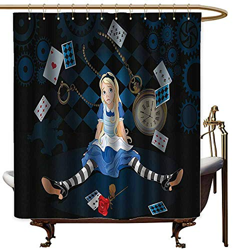 Godves Long Shower Curtain,Alice in Wonderland Decorations Grown Size Alice Sitting with Fying Cards and Rose Flower Striped Cartoon,Art Print -