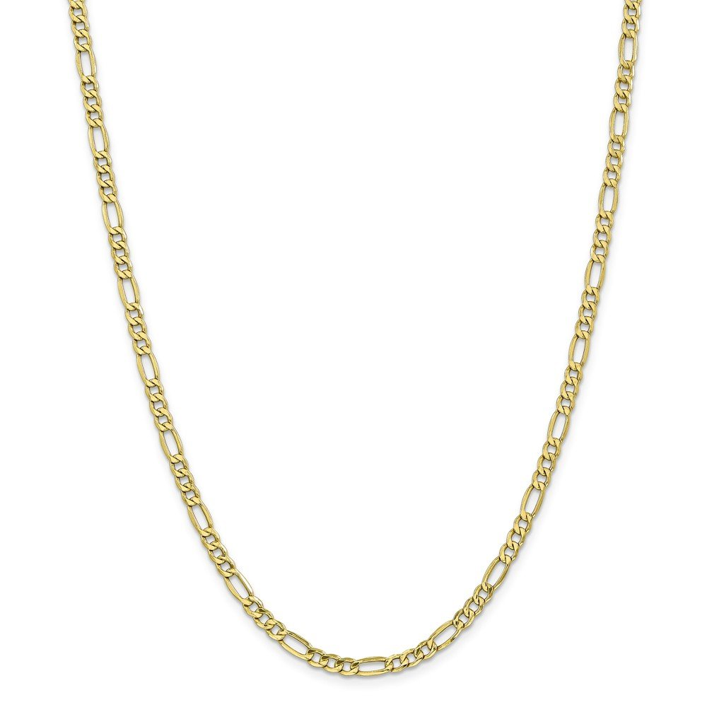 10k Gold Hollow Figaro Chain Necklace with Lobster Clasp (4.6mm) - Yellow-Gold, 20 in