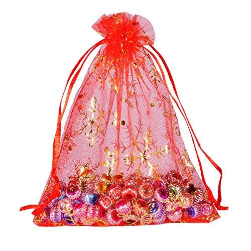 Wedding Gift Tax: 25PCs Favors 12cmx16cm Red Snowflake Organza Gift Bags