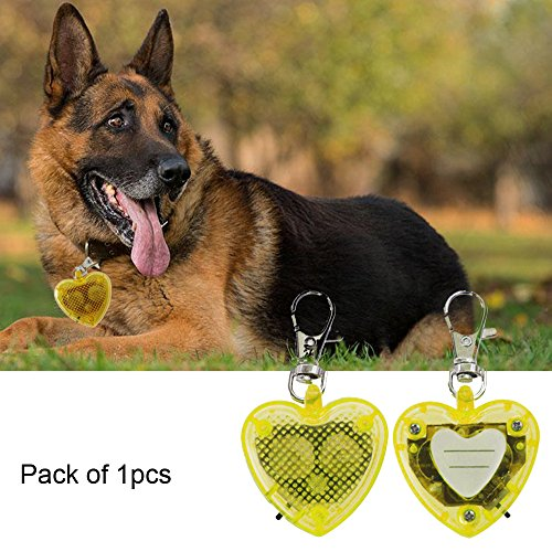 Heart Id Tag Necklace (Led Dog Lights ID Tag- Heart Shape Dog Collar Clip On KeyChain Lights, Blinking Pet Safety Lights for Dog Walking& Backyard Monitoring, Great Gift for Small Dogs and Large (yellow))