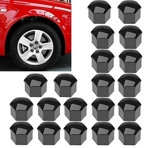 17mm Universal Car Wheel Lug Bolt Nut Center Covers Caps + Removal Tools for VW Passat Golf Skoda Audi (Black, 20-Pack)
