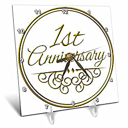 3dRose dc_154443_1 1st Anniversary Gift Gold Text for Celebrating Wedding Anniversaries 1 First One Year Together Desk Clock, 6 by 6-Inch