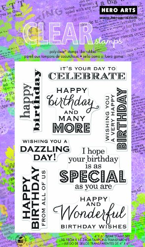 Hero Arts CL611 Many Birthday Messages Clear Stamp Set -