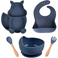 Baby Weaning Feeding Set, 5 PSC Silicone Set with Baby Bib + Suction Baby Plate + Suction Bowl + 1 Spoon & 1 Fork for…