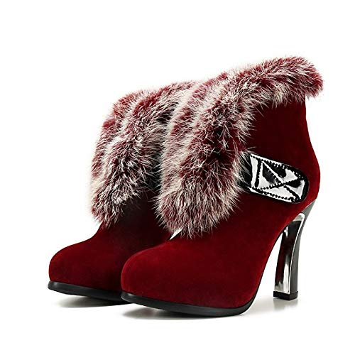 Wine 6.5-7 US Wine 6.5-7 US Women's Comfort shoes Suede Fall & Winter Boots Chunky Heel Black Wine   Dark Brown