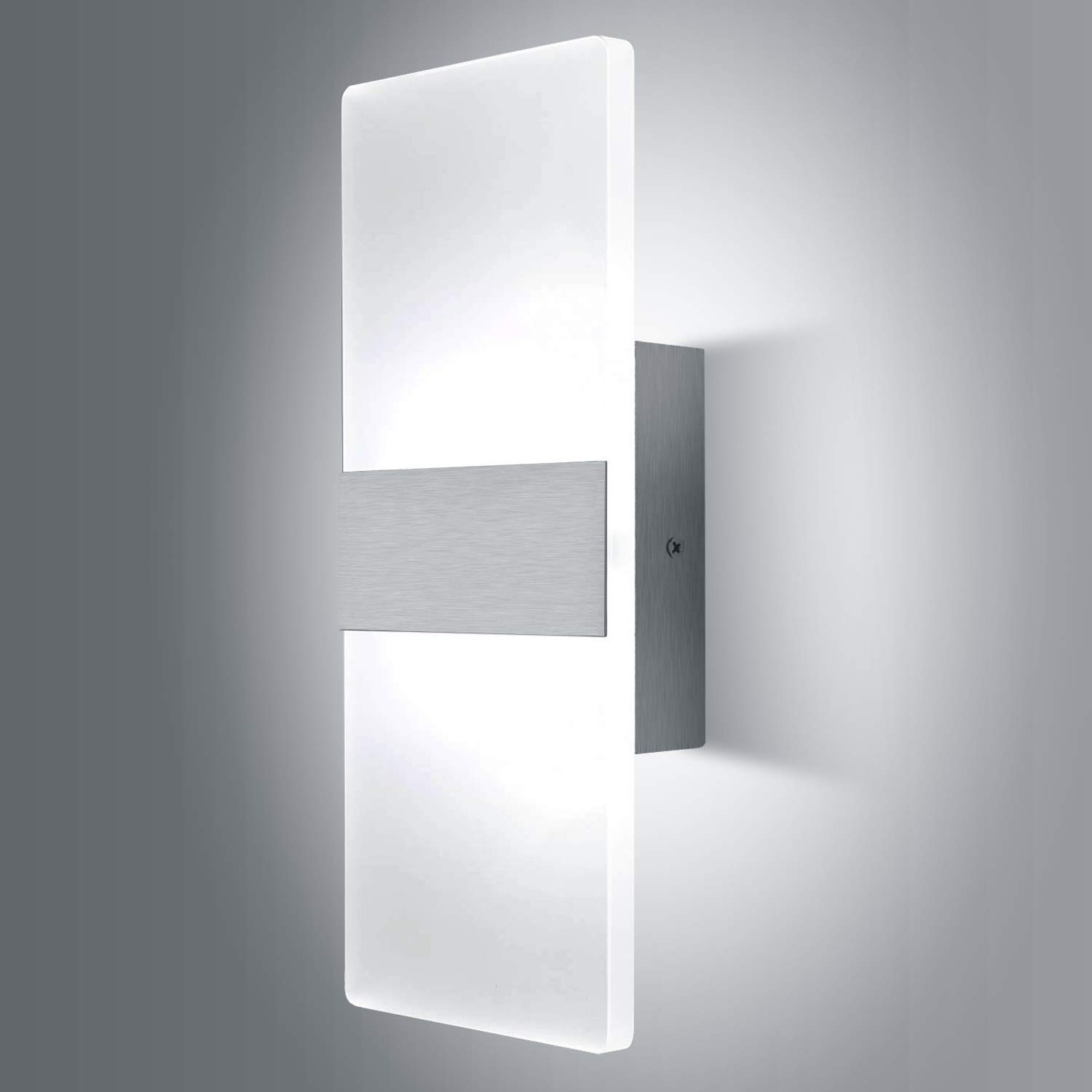 Lightess Modern Wall Sconce 12W Up Down Wall Lights Acrylic LED Wall Lamp for Hallway Bedroom Corridor, Cool White