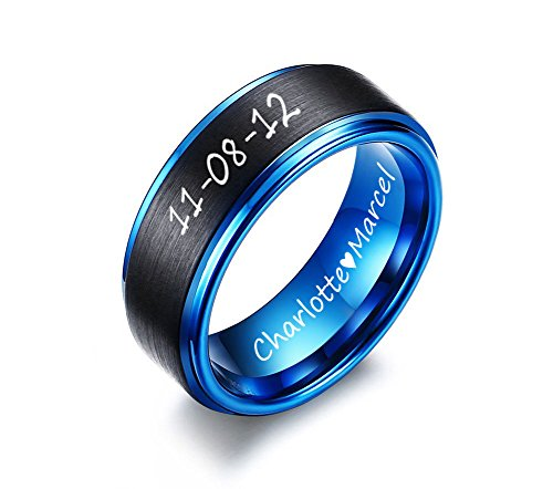 XUANPAI Free Custom Engraved 8mm Two-Tone BlueTungsten Carbide Wedding Promise Ring Band,Size (Id Two Tone Ring)