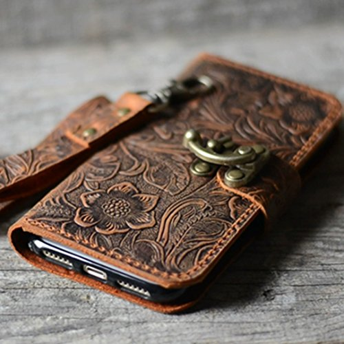 (handmade Genuine leather wallet case for iphone XS Max case for iphone 8/8 plus /7/7 plus leather case for iphone XS/XR with wristlet (old brown) iphone 6 / 6S plus)