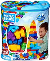 Mega Bloks First Builders Big Building Bag with Big Building Blocks, Building Toys for Toddlers (80 Pieces)