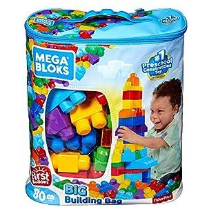 Mega Bloks First Builders Big Building Bag with Big Building Blocks, Building Toys for Toddlers (80 Pieces) – Blue Bag