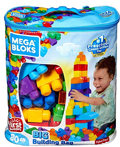 Mega Bloks First Builders Big Building Bag with Big Building Blocks, Building Toys for Toddlers (80 Pieces) – Blue Bag