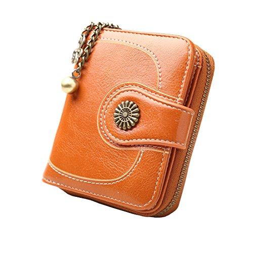 (Zlover Women's Card Holder Wallet RFID Blocking Vintage Flower Luxury Wax Clutch Purse Orange)