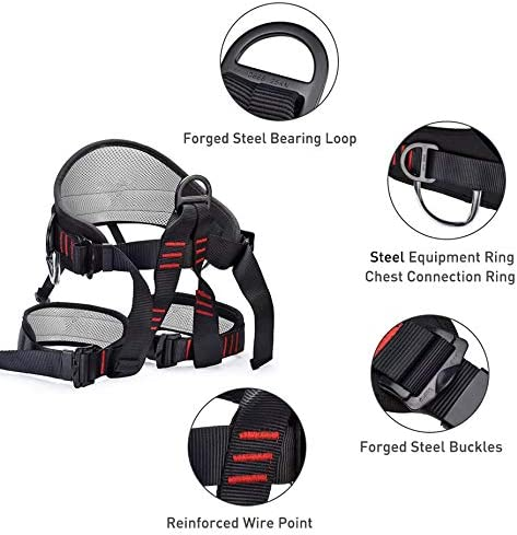 Upgraded Black Protect Waist Safety Harness Wider Half Body Harness for Mountaineering Fire Rescuing Rock Climbing Rappelling Tree Climbing Weanas Thicken Climbing Harness