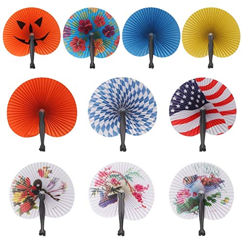 - Hand Held Foldable Paper Fan Children Themed Party Decoration Portable Fan,Random Delivery,