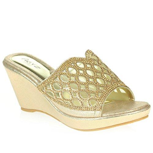 AARZ LONDON Frau Damen Kristall Diamant Abend Hochzeit Party Abschlussball Braut Schlüpfen Keilabsatz Sandalen Schuhe Größe Gold
