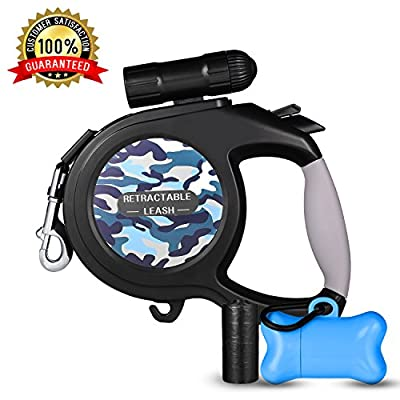 Retractable Dog Leash, Dog Walking Leash for Medium Large Dogs up to 110lbs, LED Light &Dog Waste Dispenser Bags Included, Tangle Free, One Button Break & Lock from WOT I