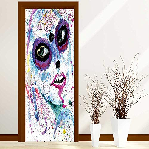 Door Stickers Arts Decals Wall Stickers Decor Grunge Halloween Lady with Sugar Skull Make up Creepy Dead Face Gothic Woman Easy-to-Clean, Durable W32 x H80 inch -