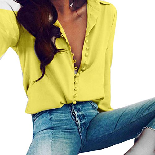 fan products of Lady Office Blouses Shirt Women Long Sleeve Tunic Button Down Elegant Shirts Female Vintage Blouse Shirt Yellow S