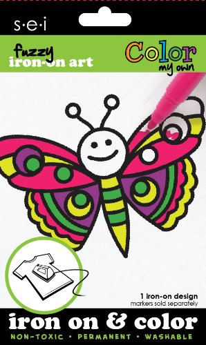 SEI 3.35-Inch by 5-Inch Butterfly Color My Own Iron on Transfer, 1 Sheet