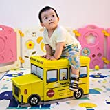 Kids Large Foldable Toy Box Stool Storage Chest Kids School Bus Books Clothes random color by Stvin
